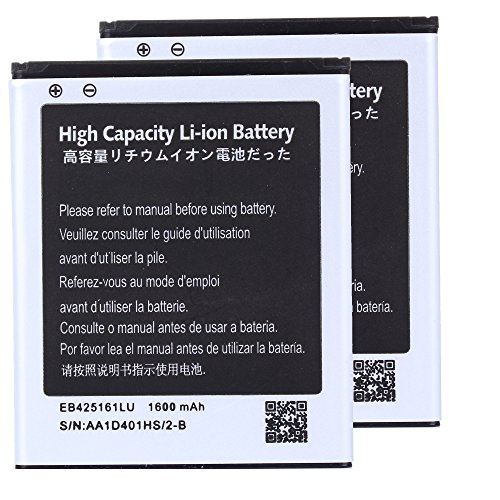 2 pcs High Capacity Samsung Galaxy Exhibit SGH-T599N Battery EB425161LU For Samsung Galaxy Exhibit SGH-T599N / Samsung Galaxy S3 Mini GT-I8190 / Samsung Galaxy Ace 2 GT-I8160 / Samsung Galaxy Exhibit SGH-T599 1600 mAh (Samsung I8160 compare prices)