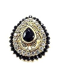 Aria Party Wear Black Kundan CZ Gold Plated Adjustable Finger Ring Fr234