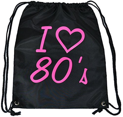 I Love the 80's Drawstring Bag, water resistant with strong, nylon cord handles - fast despatch