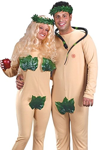 Mememall Fashion Adult Couples Funny Humorous Naked Adam and Eve Fig Leaf Costume (Adam & Eve Costume)