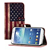Kwmobile Chic leather case for the Samsung Galaxy S4 i9505 / i9506 LTE+ with convenient stand function - Flag design (USA) (Blue)!