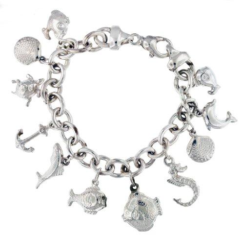 Silver 11Charm Seaside Belcher Bracelet 8'