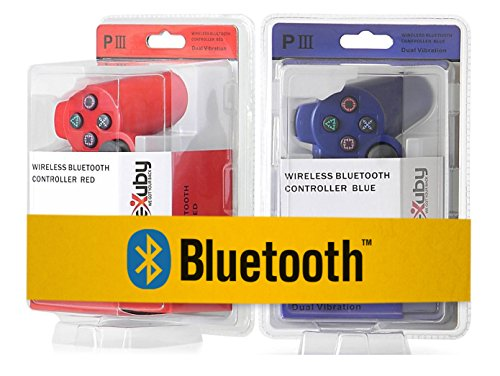 2-Pack-eXuby-Killer-Red-Dark-Blue-Bluetooth-Wireless-Controllers-Compatible-With-Sony-PS3-And-Playstation-3-6-Axis-And-Dual-Vibration