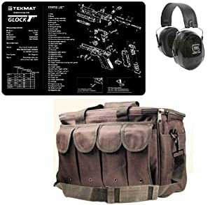 Ultimate Arms Gear Glock Shooting Range Bundle Tactical Package Kit Includes - Glock Logo Peltor Hearing Protection Ear Muffs + Cleaning Work Tool Bench Pistol Gun Mat Schematics Diagram + Stealth Black Heavy Duty Equipment Hunting Law Enforcement Range B