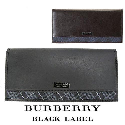 バーバリー ブラックレーベル 財布 かぶせ長財布 牛革×ポリエステル BURBERRY BLACK LABEL