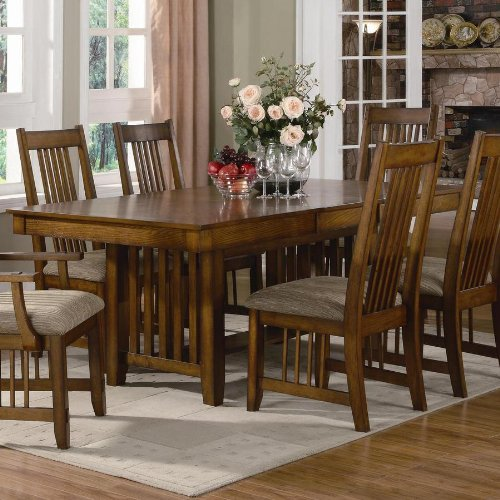 Dining table mission style in warm medium oak finish for Mission style dining table