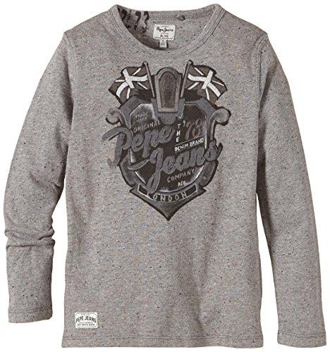 Pepe Jeans Jungen T-Shirt EDEN, Einfarbig, Gr. 176 (Herstellergröße: L), Grau (GREY MARL 933)
