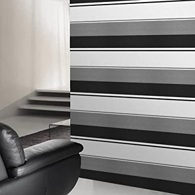 Poise Black White Grey Striped Wallpaper