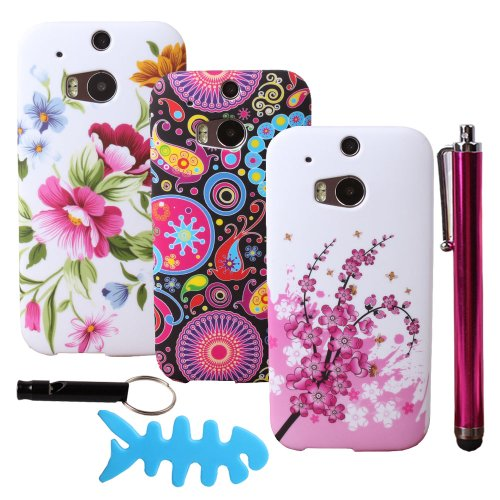 Teenitor(Tm) Bulk Pack Of 3 Cases #02 Hot High Quality Beautiful Flower And Jellyfish Animal Gel Rubber Design Case For Htc One 2 M8(With Screen Protector, Stylu, Fish Earphone Cable Organizer, Whistle) Shipping From Usa