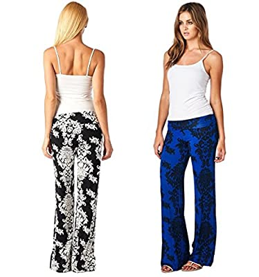 Bestdress Women's Damask Palazzo Pants Paisley Wide Leg Yoga Trousers 2 Pack