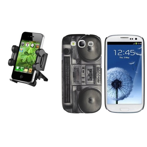 Black Radio Recorder Plastic Case+Car Holder For Samsung Galaxy S III S3 i9300