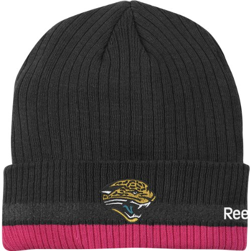 Reebok Jacksonville Jaguars 2010 Breast Cancer Awareness Sideline Cuffed Knit Hat One Size Fits All front-925217