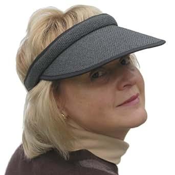Straw Style Ladies Push on Golf & Tennis Sports Sun Visor in Black