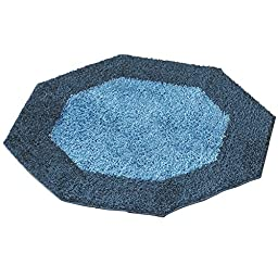 Frisse Two Tone Shag Accent Rugs, Mineral Blue, Octagon