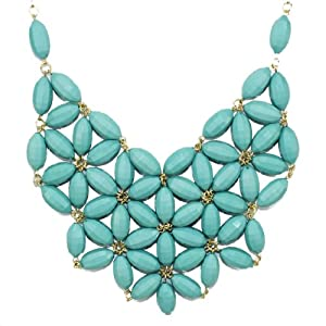 Latest Inspired Fashion Bib Statement Crystals Colorful Beads Acrylic Necklace Light Blue