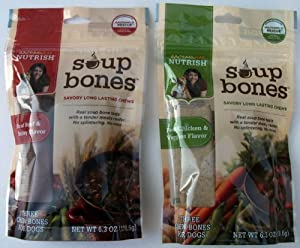 Variety Rachael Ray Nutrish Soup Bones Dog Treats (2 Pack) Real Beef & Barley and Chicken & Veggies - Each Pack 6.3 oz/ 3 Chew Treats