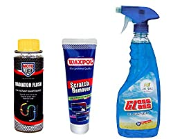Combo of 3 Items - Moto Lube Radiator Flush 300 ml. & Waxpol Scratch Remover 150 gr. & Auto Pearl Air Gloss Car Glass Cleaner 500 ml.