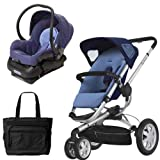 Quinny BUZ3TRSTEB1 Buzz 3 Travel System Electric Blue with Diaper Bag