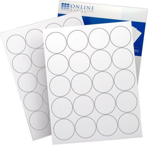"""Online Labels® Circle Labels For Laser & Inkjet Printers - 2"""" Labels, 20 Labels Per Sheet, White Matte - 100 Sheets"""