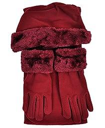 Cloche Fur Trim 3 Piece Fleece Hat, Scarf & Glove Women\'s Winter Set (Burgundy)