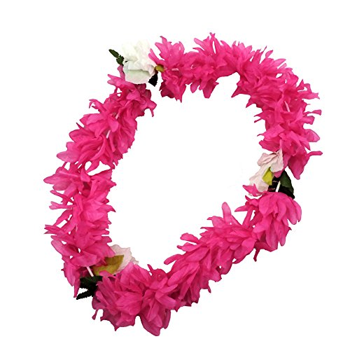 HOT PINK Hawaiian Lei Polynesian Faux Hybiscus Flower Necklace - 1