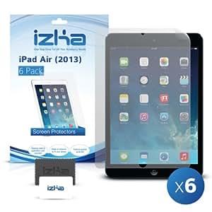 iZKA® - cristal transparent LCD écran protecteur couvrir Garde pour Apple iPad Air 2013 - (Lot de 6) comprend Micro Fibre nettoyage tissu & Application carte