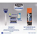 Shick Shaving Kit Gift Set (Hydro 5 Razor + 2 Refill Cartridges + Edge Sensitive Skin 7 Oz. Shave Gel)