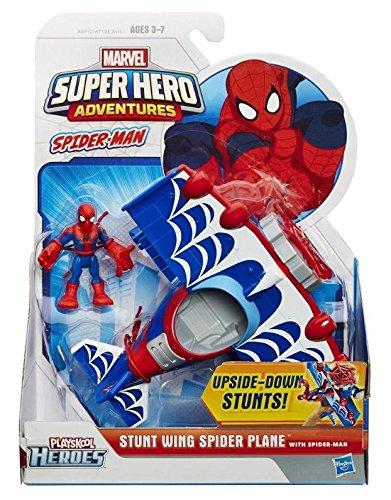 Playskool Heroes Marvel Super Hero Adventures Stunt Wing Spider Plane Vehicle with Spider-Man Figure - 1