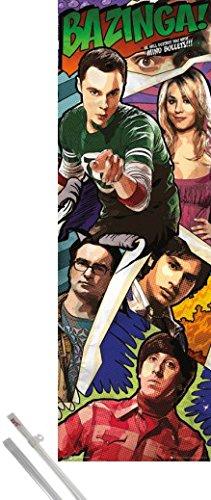 Poster + Sospensione : Big Bang Theory Midi Poster (91x30 cm) Comic Bazinga e Coppia di barre porta poster 1art1®