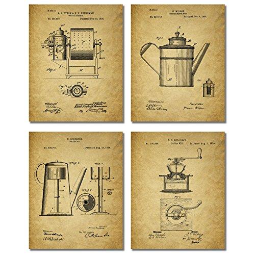 Coffee Patent Prints - Set of Four Coffee Bar Unique Kitchen Decor Wall Art Photos 8x10 (Antique Coffe Grinder compare prices)