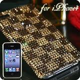 iPhone4用 豪華スワロフスキーiPhone4ケース(Bタイプ・チェックブラウン)