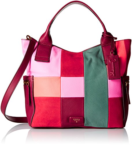 Fossil Emerson Satchel, Bright Patchwork