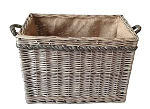 Delux , Rectangular , Hessian Lined Log Basket. Antique wash finish. Full cane willow. Rope handled from thyme and season