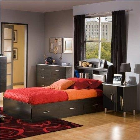 Cheap South Shore Cosmos Kids Twin Onyx Wood Bookcase Bed 4 Piece Bedroom Set (3127080-4PKG)