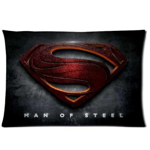 """Red Superman Logo """" Man Of Steel """" Gray Personalized Custom Soft Rectangle Pillow Case Cover 20X30 (One Side)"""