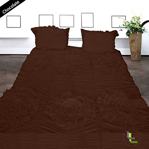 Bed Bee King 300Tc Wonderful 1Pc Flower Ruffle Duvet Cover & 2 Pillowcases Solid Chocolate Solid 100% Egyptian Cotton front-926365