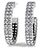 2.00 ct Lady's Round Cut Diamond Two Row Hoop Earrings in 18 kt White Gold