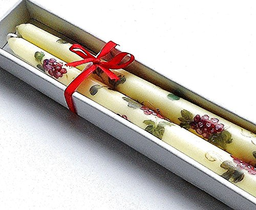 Decorated Taper Candle Set with Grape Clusters and Vines Tuscan Grapevine Decor (Grapes Decoration For The Kitchen compare prices)