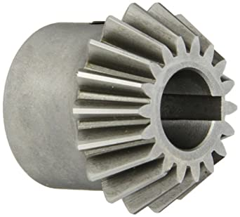 "Boston Gear HL152Y-P Bevel Pinion Gear, 2:1 Ratio, 0.625"" Bore, 12 Pitch, 18 Teeth, 20 Degree Pressure Angle, Straight Bevel, Keyway, Steel with Case-Hardened Teeth"