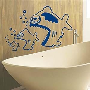 wall decals fish bubbles ocean bathroom vinyl. Black Bedroom Furniture Sets. Home Design Ideas