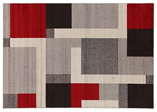 Viva Casa Riquadri Tappeto, Materiale Sintetico, Grigio/Rosso, 160x230x3.68 cm