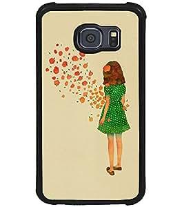 Printvisa Green Dress Girl Admiring Flowers Back Case Cover for Samsung Galaxy S6 Edge::Samsung Galaxy S6 Edge G925