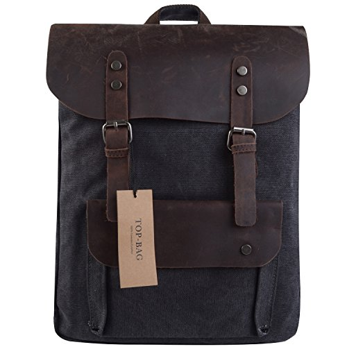TOP-BAG®Women Vintage Canvas Leather Shoulder Bag Backpack Weekender Bag Rucksack Satchel, MC2166 (darkgrey)