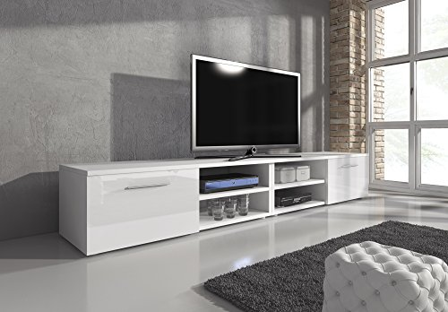Mobile per TV, supporto TV Mobile Entertainment Vegas corpo bianco Tappetino/frontali bianco lucido 240cm
