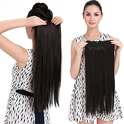 "SARLA® 24"" Straight 1Pc 3/4 Full Head Clip In Hair Extension Synthetic Hair Extensions Japan Heat Resistant Fiber 50 Colors Available 666"