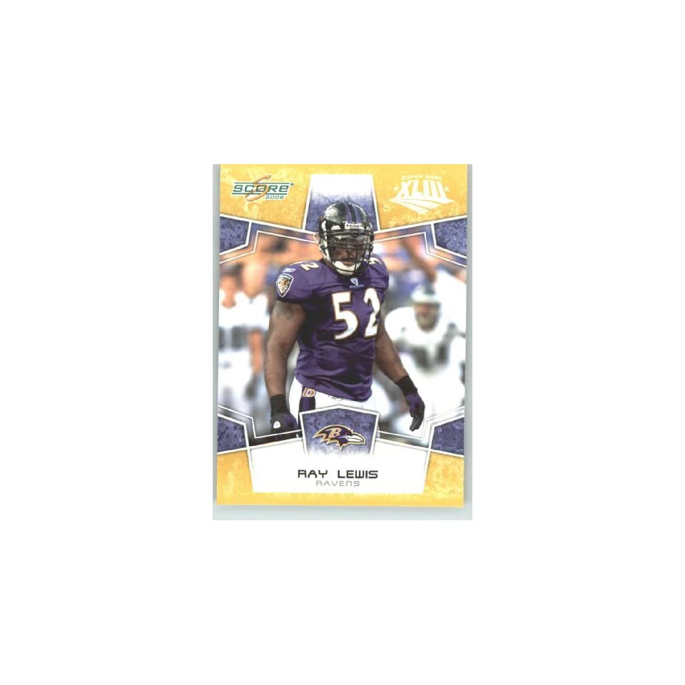 2008 Donruss / Score Limited Edition Super Bowl XLIII Gold Border # 27 Ray Lewis   Baltimore Ravens   NFL Trading Card in a Prorective Screw Down Display Case