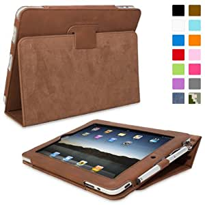 iPad 2 Case, SnuggTM - Brown Leather Smart Case and Stand with Automatic Wake / Sleep, Elastic Hand Strap & Soft Premium Nubuck Fibre Interior - Protective Apple iPad 2 Folio Flip Cover - Includes Lifetime Guarantee