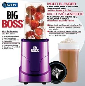 Big Boss 8867 4-Piece Personal Countertop Blender Mixing System, 300-watt, Purple by Big Boss