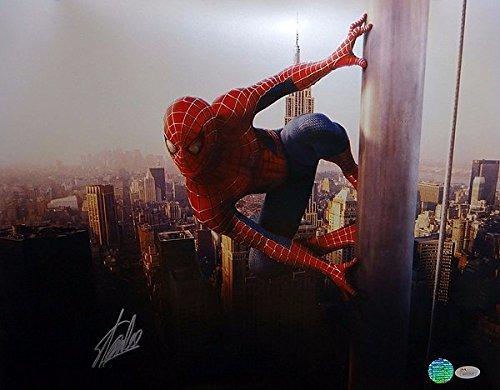 Stan Lee Signed 16 x 20 Spider Man On Pole Photograph - JSA Authenticated - Autographed Celebrity Memorabilia