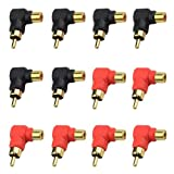 XLX 12PCS RCA 1 Male to 1 Female Right Angle Plug Connector Gold Plated Convert for TV Audio Video Cable
